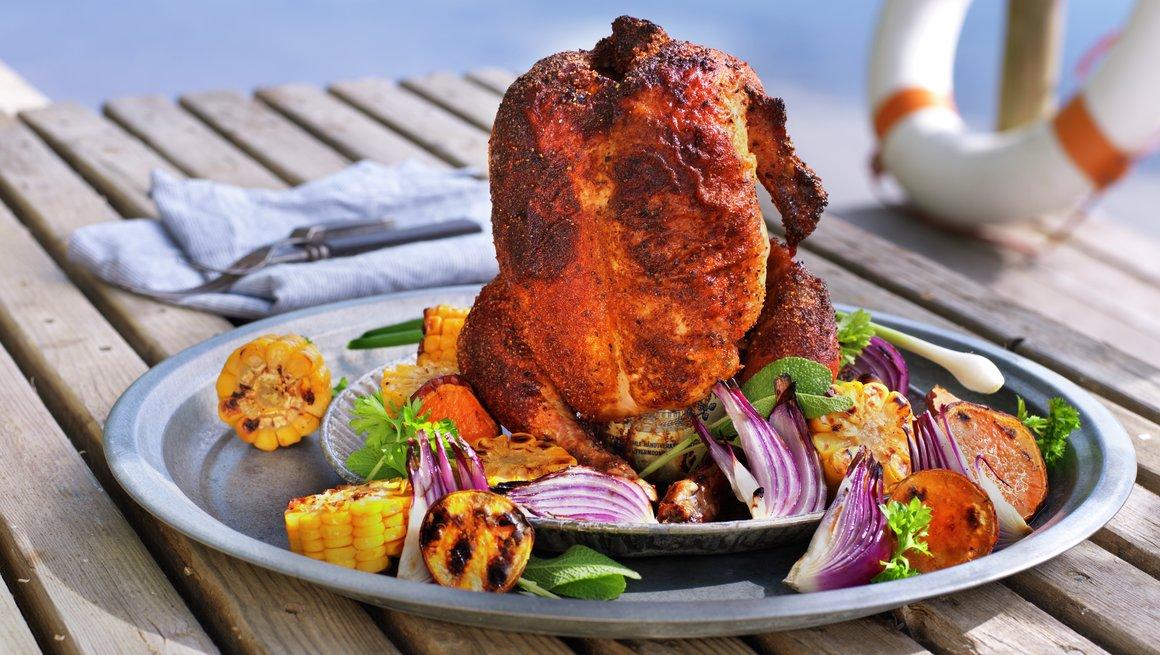 Øldampet kylling på grillen