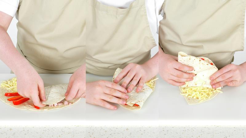 Torillawrap med spinat, skinke, paprika og ost
