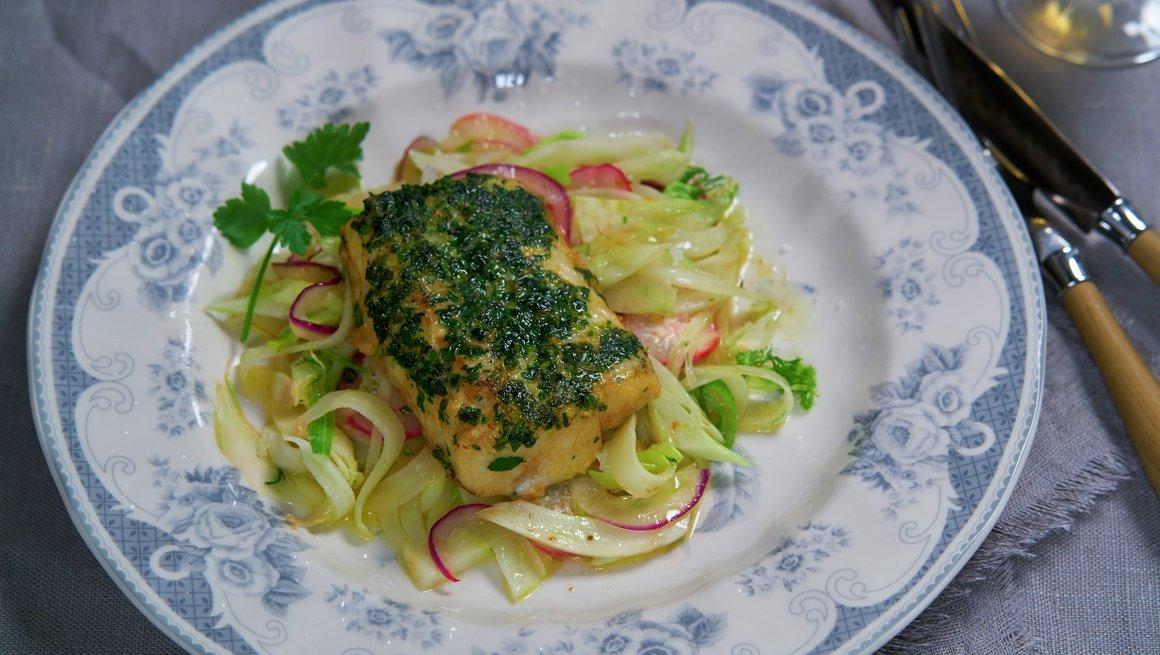 Klippfisk med urter og varm fennikelsalat