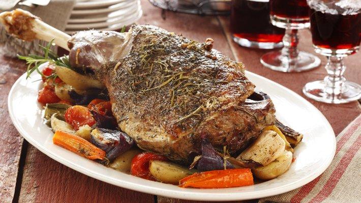 Lammestek med ovnsstekte grønnsaker