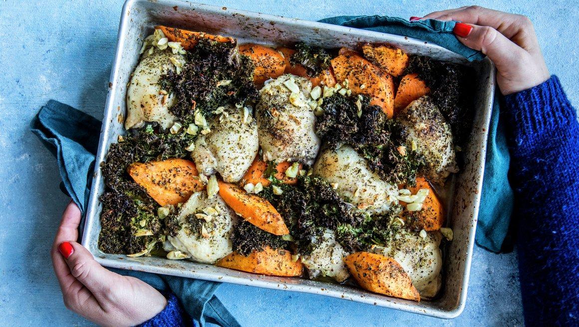 Kylling med søtpotet og grønnkål