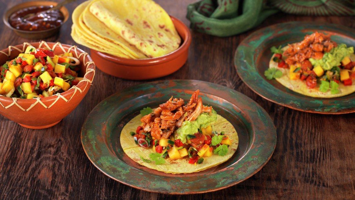 Taco med revet kylling