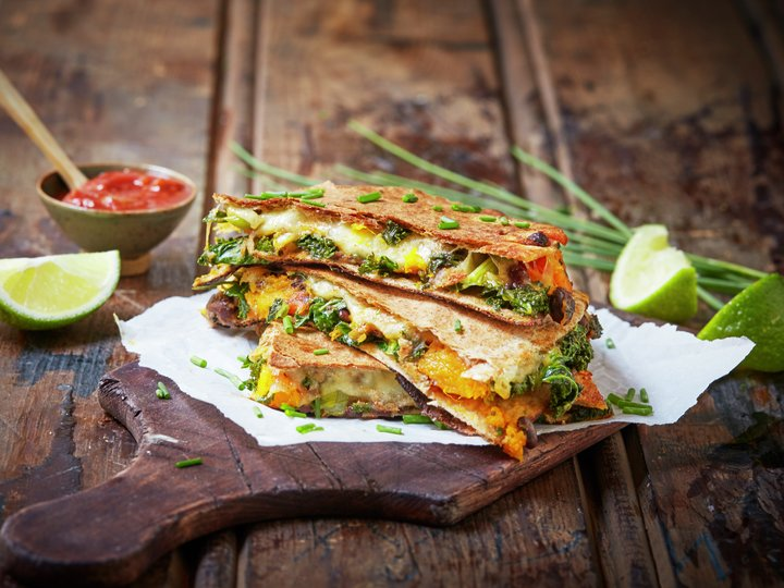 Quesadillas med grønnkål og gresskar