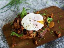 Toast med kantarell og posjert egg
