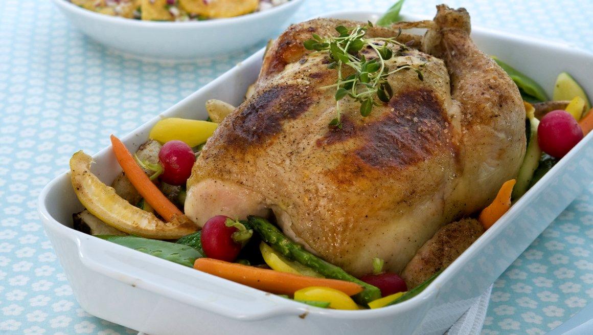 Helstekt kylling med urter og mascarpone