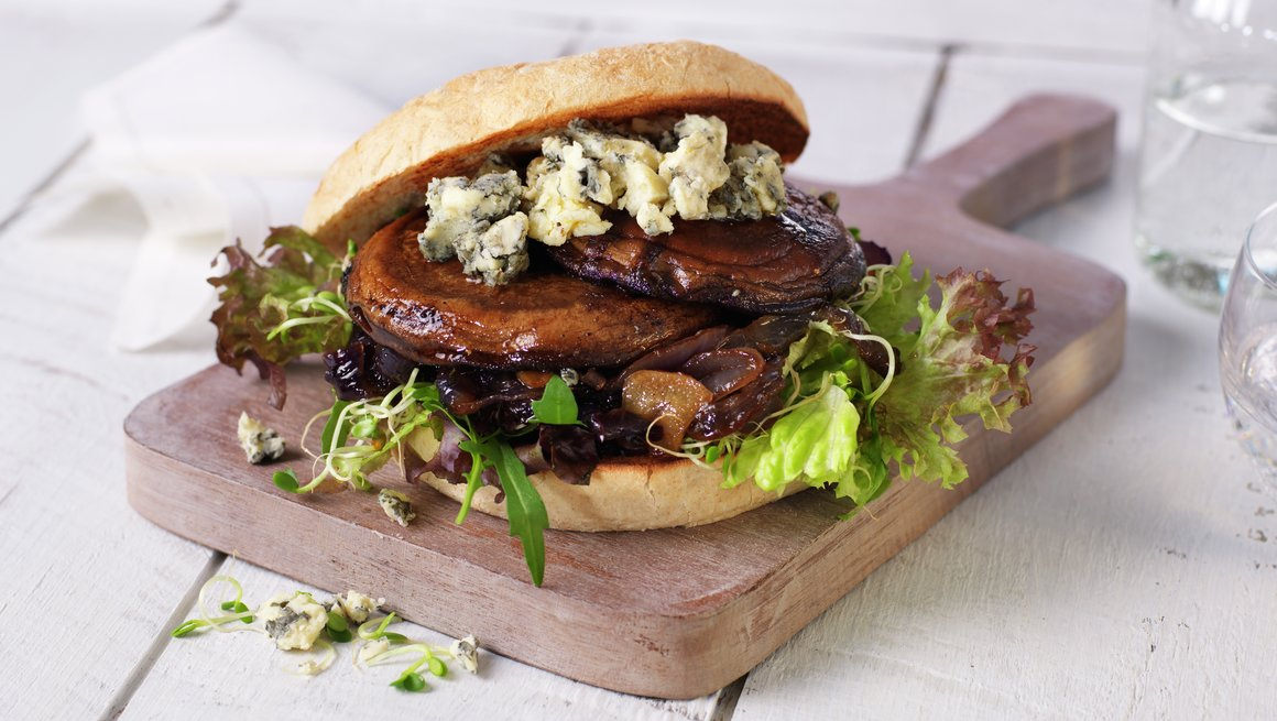 Portobelloburger med blåmuggost