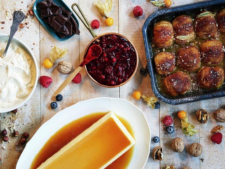 Dessert - Karamellpudding med tilbehør