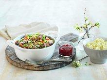 Kremet viltpanne med potet- og pastinakkmos
