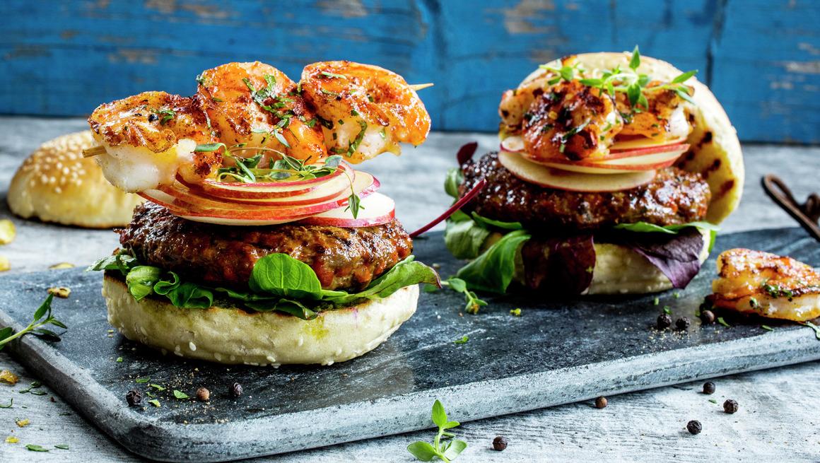 Chorizoburger med scampi 1.0
