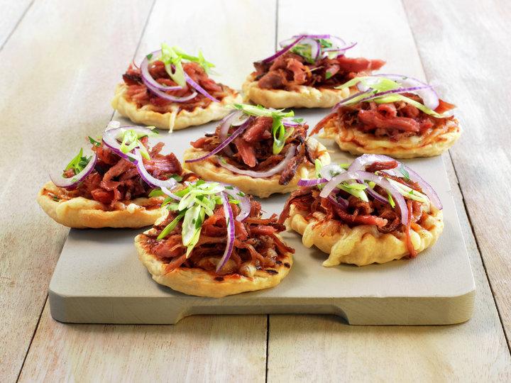 Pulled pork bbq-pizza