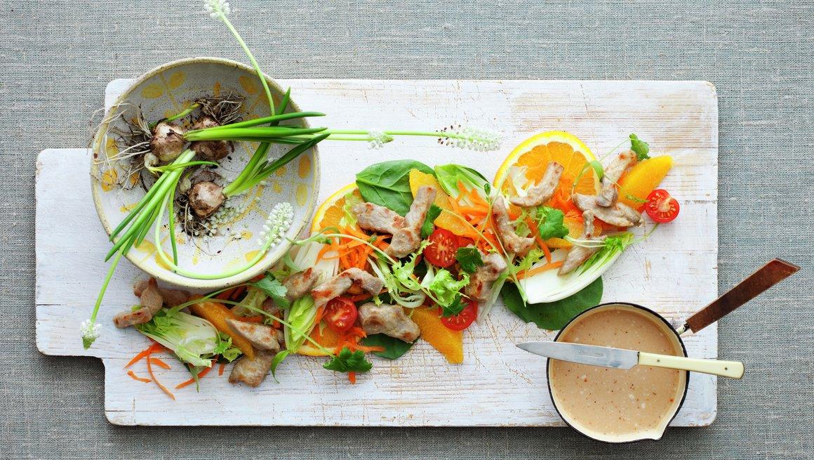 Thaisalat med appelsin og strimlet svinekjøtt