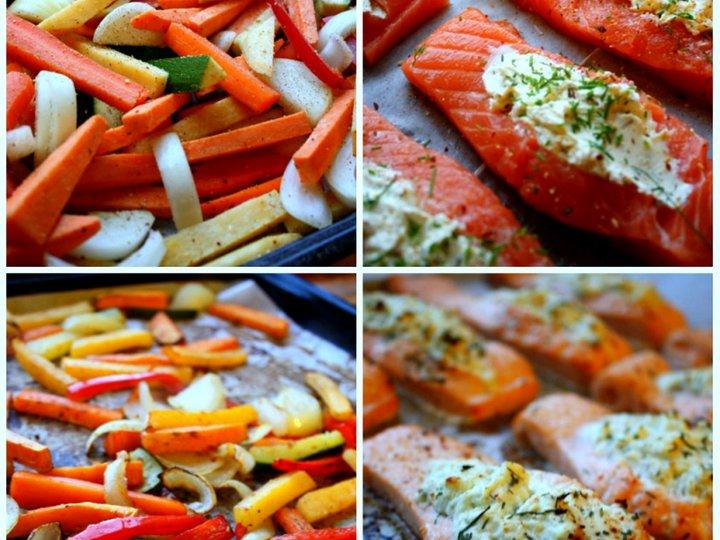 Fylt laks med ovnsbakte grønnsaker