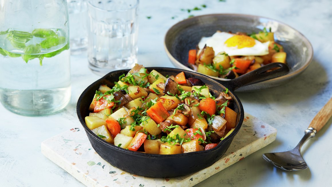 Pytt-i-panne med grønnsaker