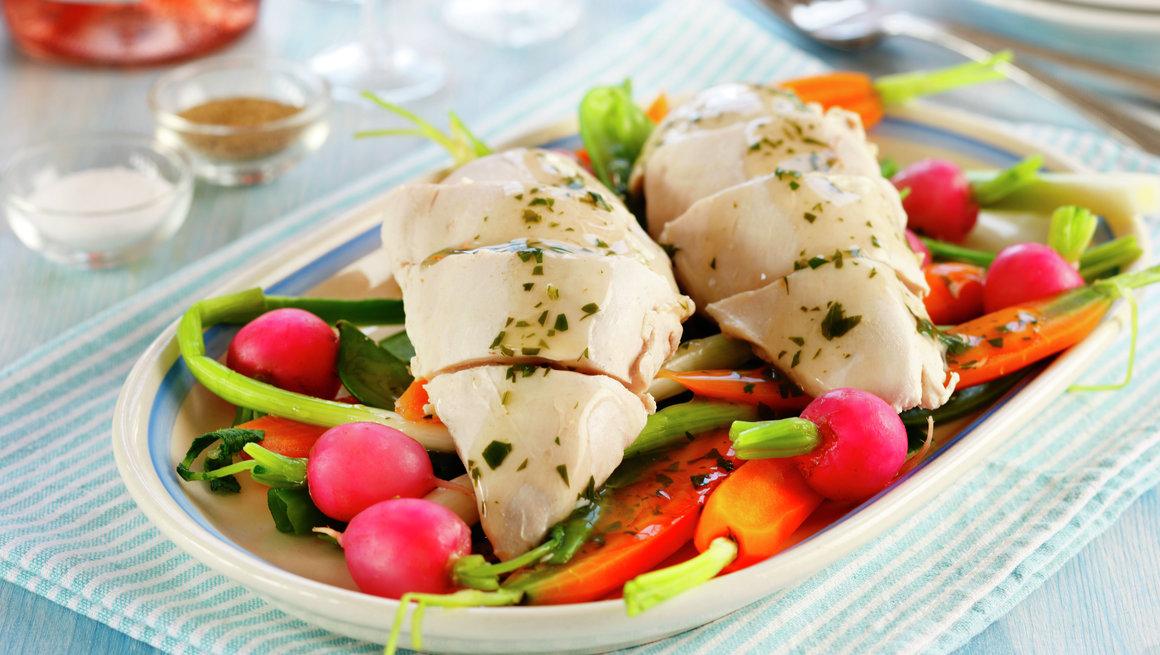 Posjert kyllingfilet med sprøgrønn