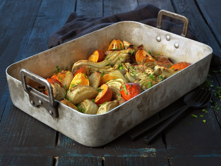 Varm fennikel- og klementinsalat