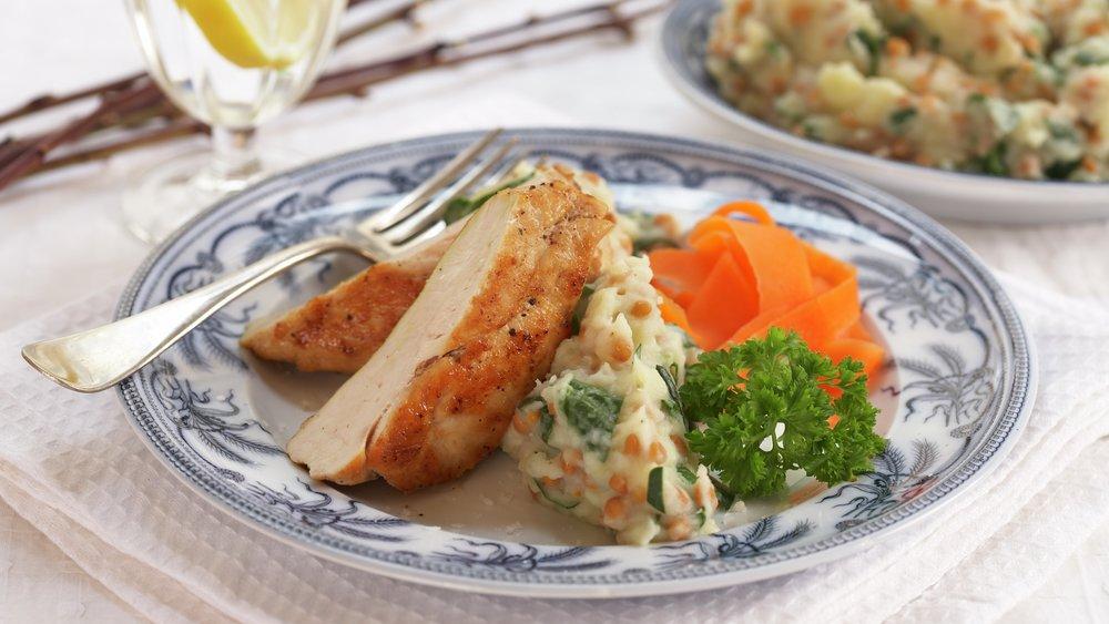 Kyllingfilet med linse og potetmos