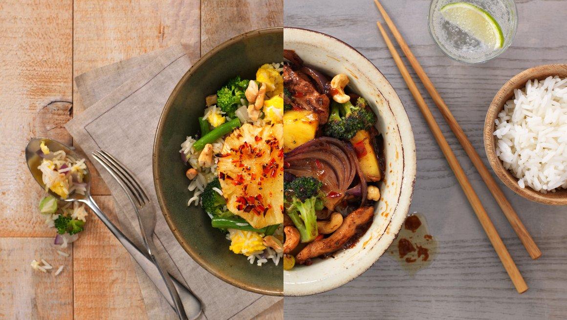 Kyllingwok og Stekt ris