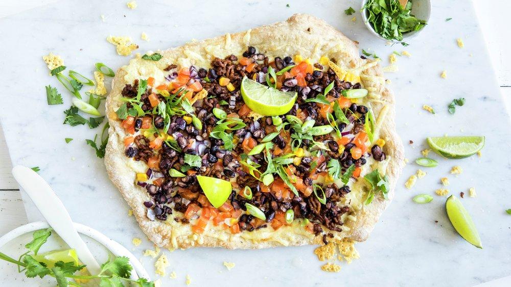 Tacopizza med kjøttdeig