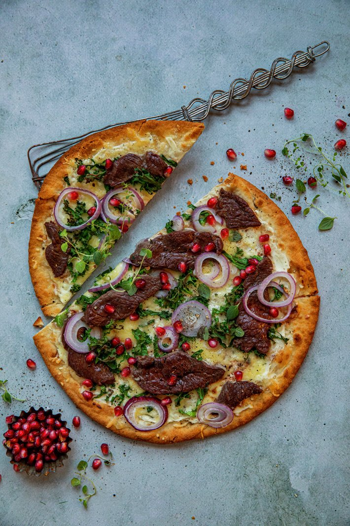 Pizza med reinsdyrbiff
