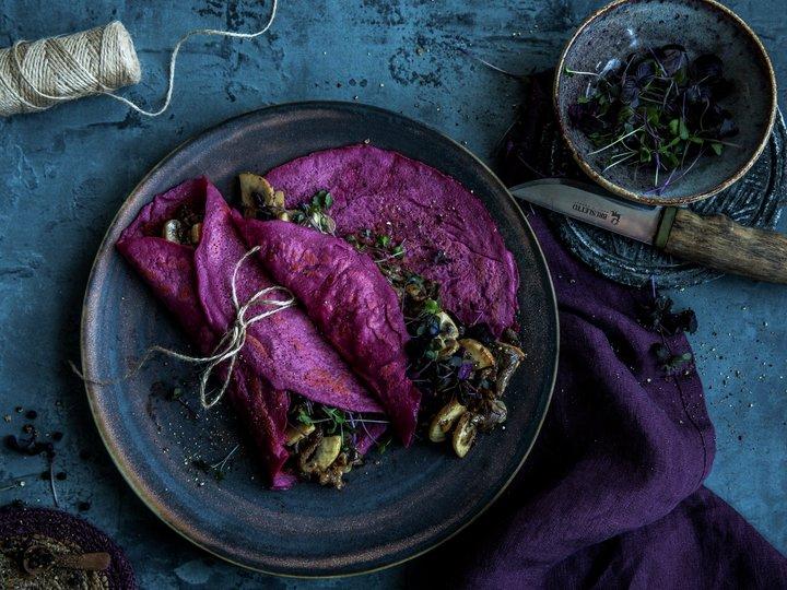 Rødbetpannekaker med reinsdyrskav
