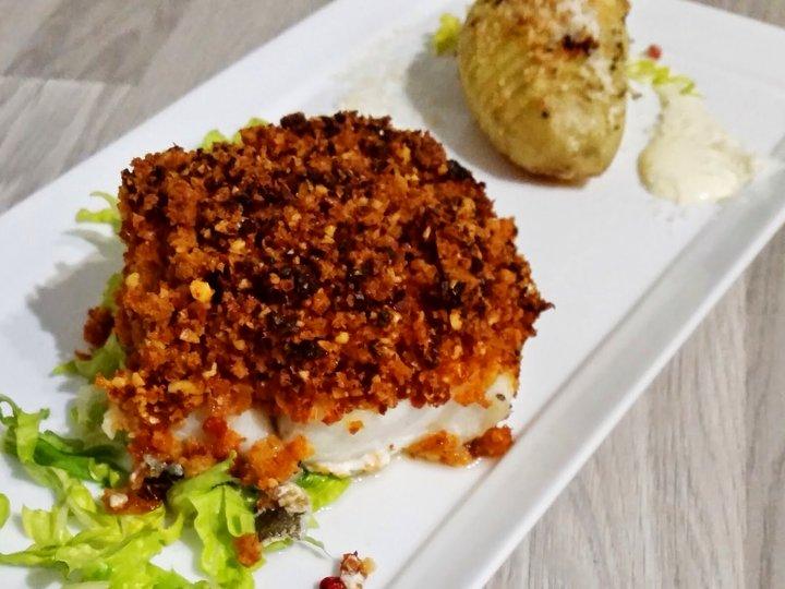 Ovnsbakt torsk med knasende chorizolokk og sitronaïoli