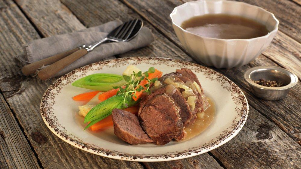 Ferskt kjøtt og suppe