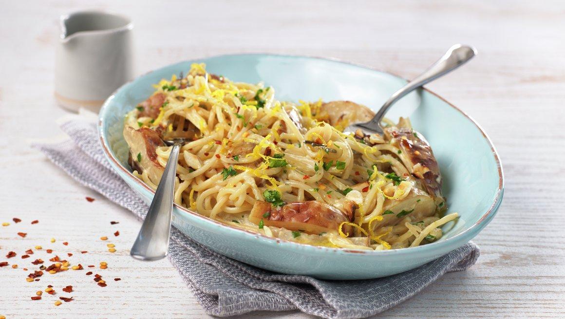Pasta med jordskokk og sitron