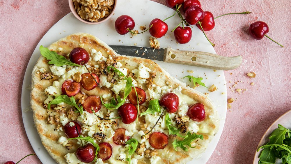 Pizza med moreller og feta