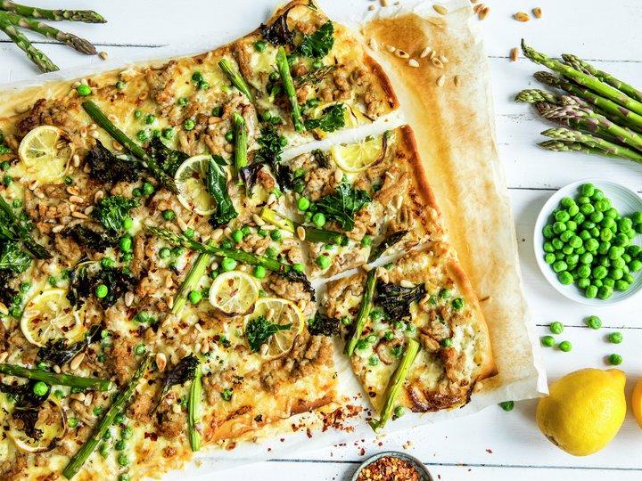 Pizza med kyllingkjøttdeig