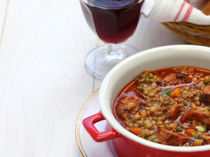 Spansk linsesuppe med chorizo