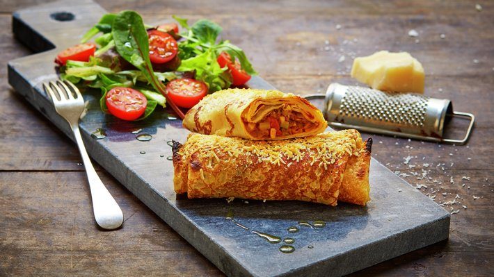 Pannekaker med vegetarisk fyll