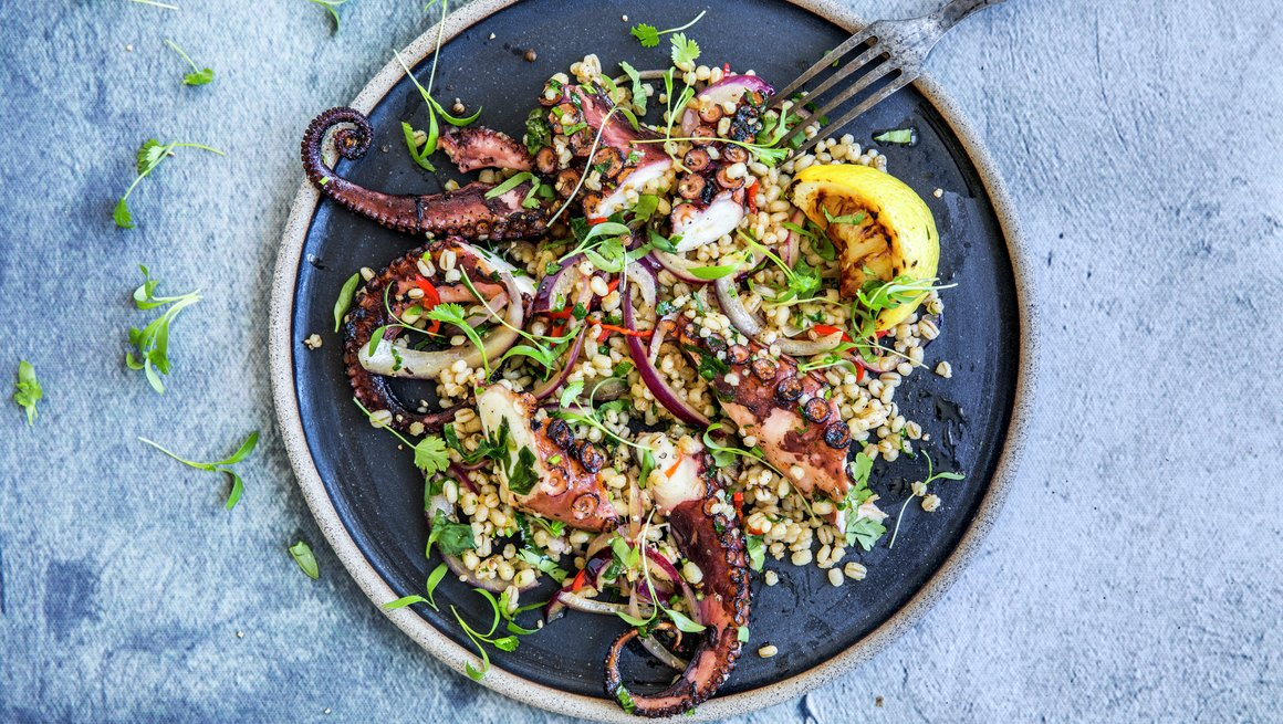 Grillet blekksprut med speltsalat