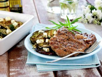Entrecôte med aubergine og squashform