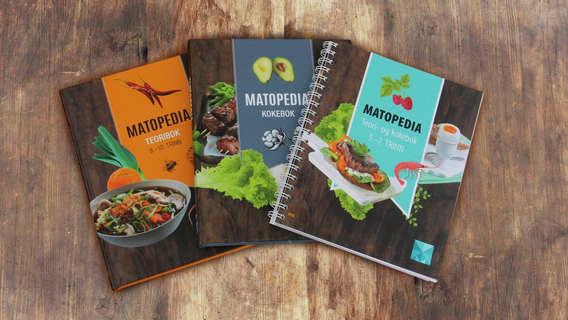 Matopedia collage med 3 bøker