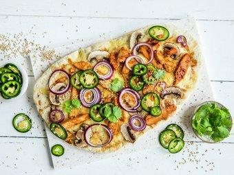Pizza med BBQ kylling