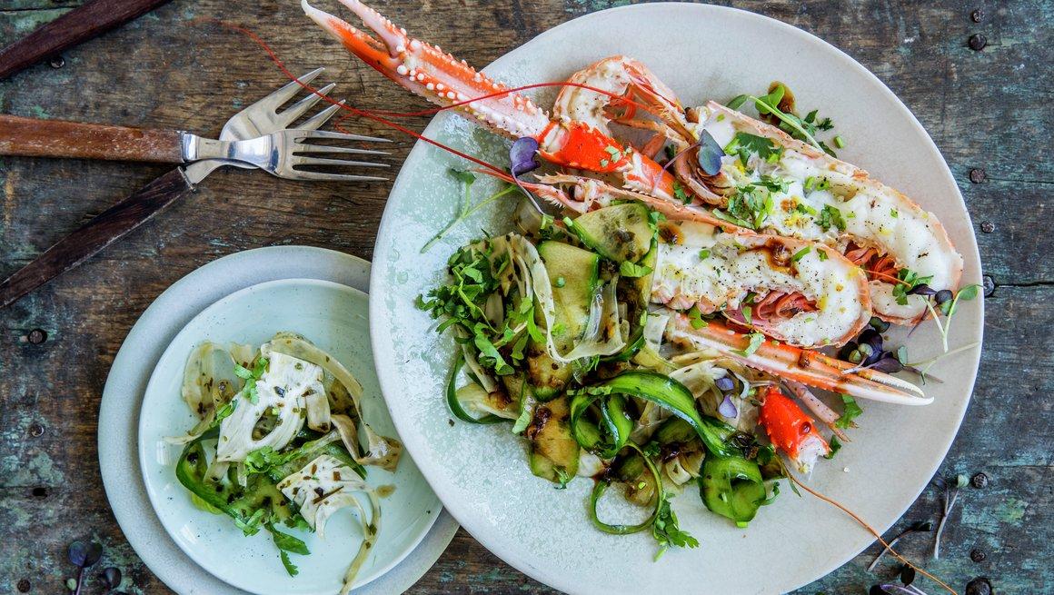 Sjøkreps med agurk- og fennikelsalat