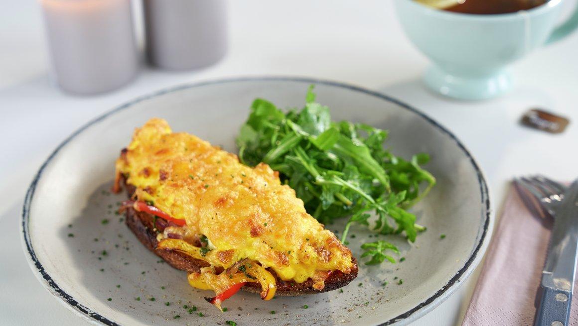 Ostesmørbrød med gratinert eggerøre