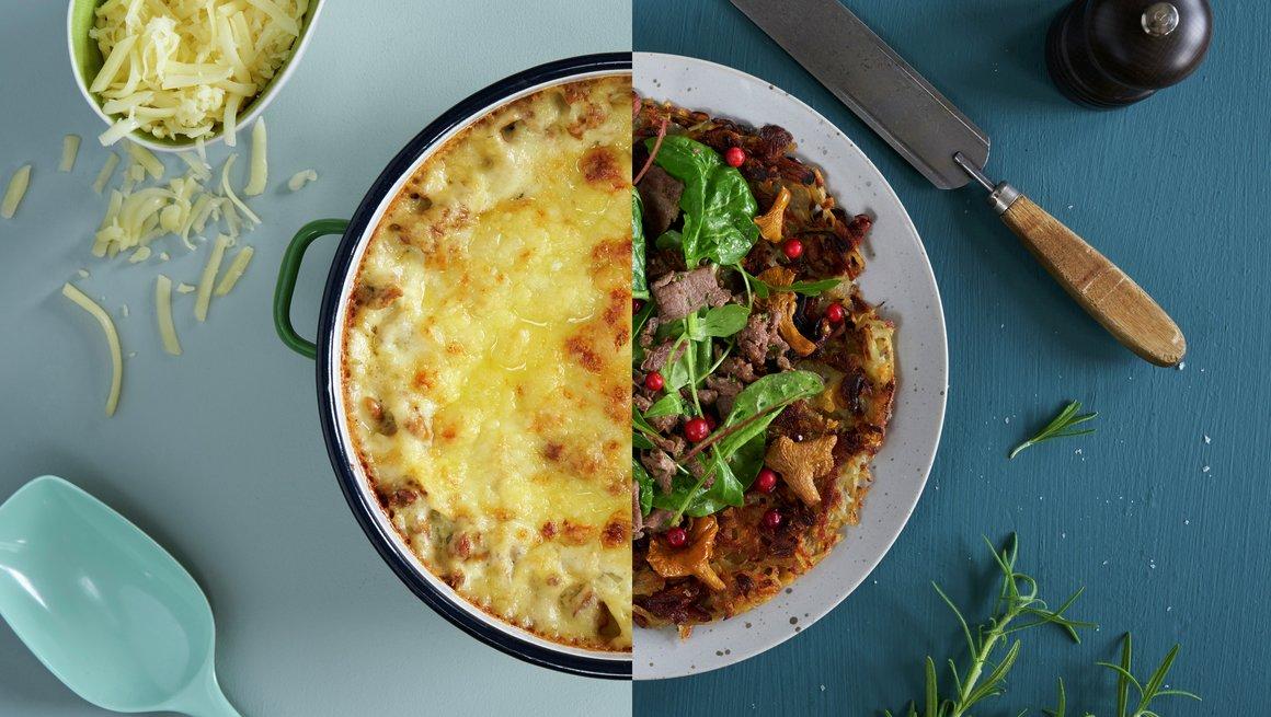 Lasagne med sopp + Reinskav med sopp og potetrösti