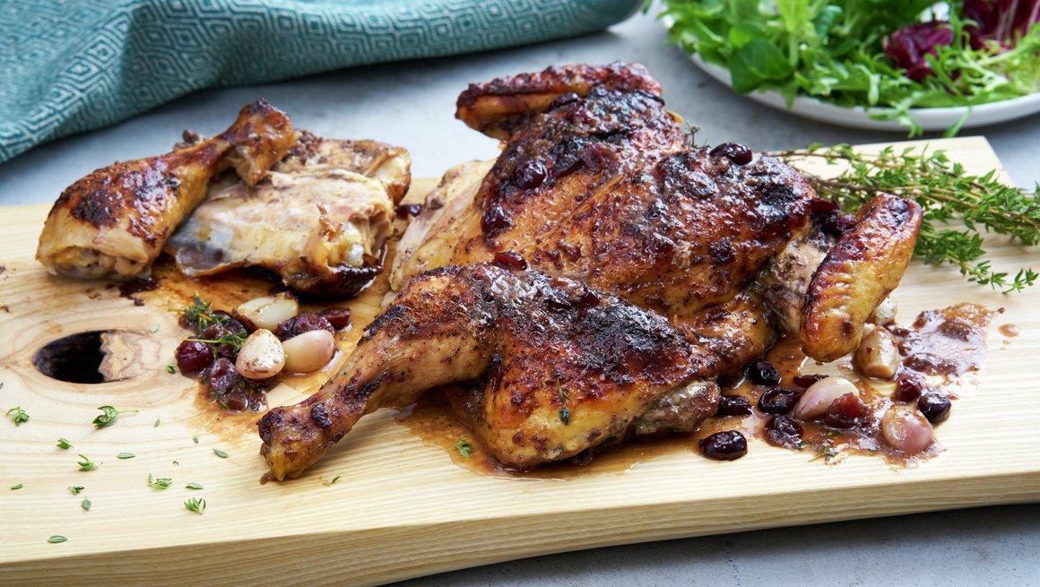 Utbrettet kylling med tranebær og balsamico