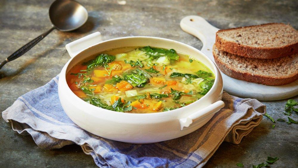 Grønnsaksuppe med gresskar og risolini