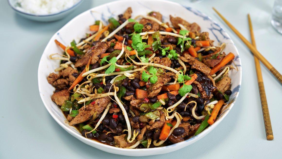 Lammewok med Black Bean-saus