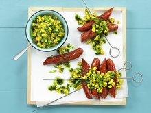 Pølser med mais- og chilisalsa