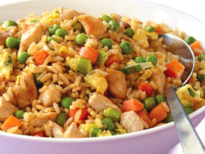 Stekt Ris med Reker/Kylling