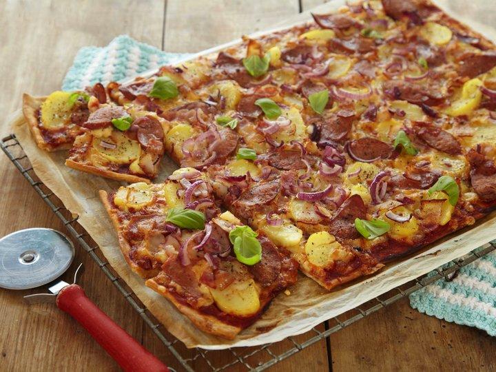 Pizzaomelett i langpanne