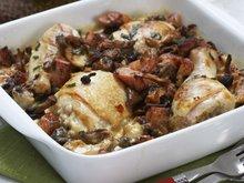 Ovnsbakte kyllinglår med estragon og sopp