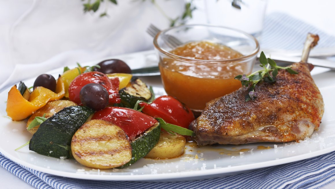 Kyllinglår med grillede grønnsaker