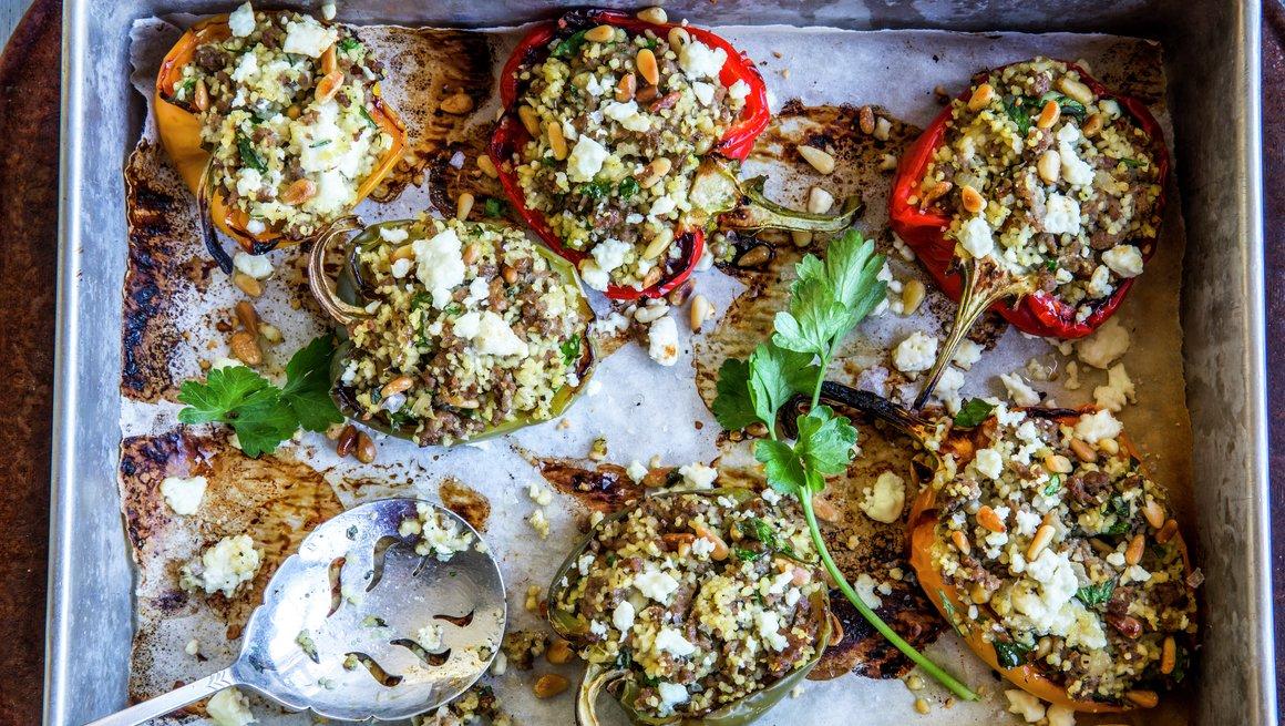 Fylt paprika med lam og couscous