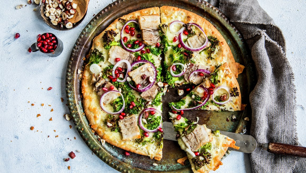 Pizza med ribbe