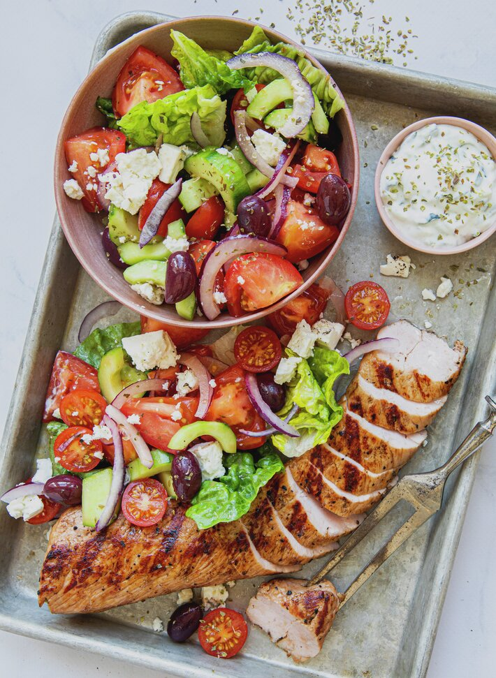 Svinefilet med gresk salat