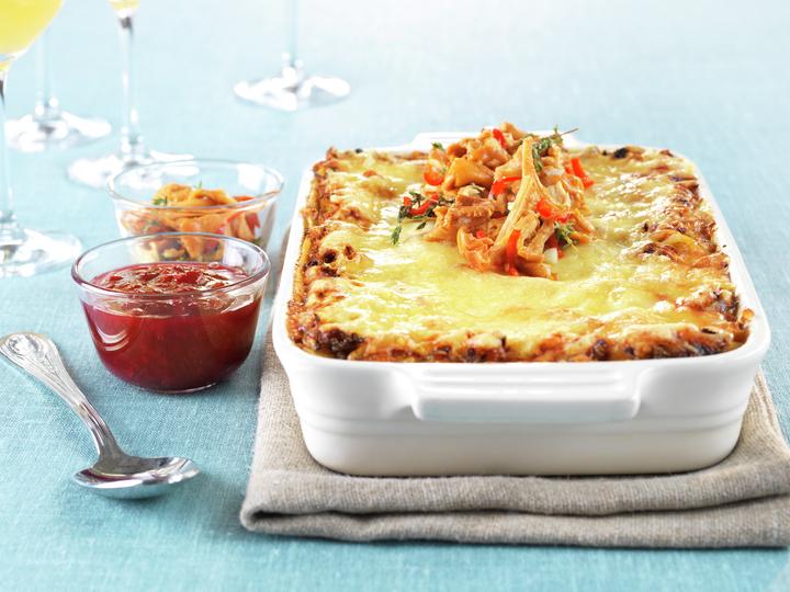 Lasagne med rein og syltede kantareller